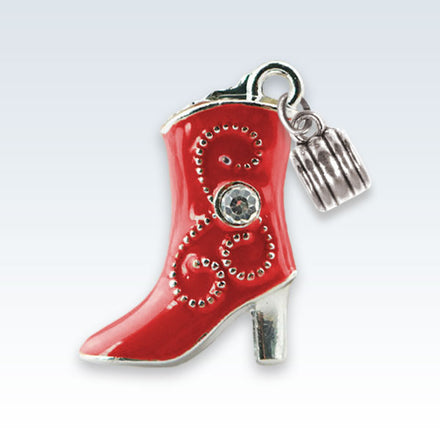 Enameled Boot Charm Red