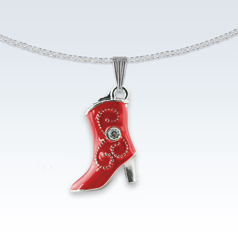 Red Boot Enameled Metal Necklace