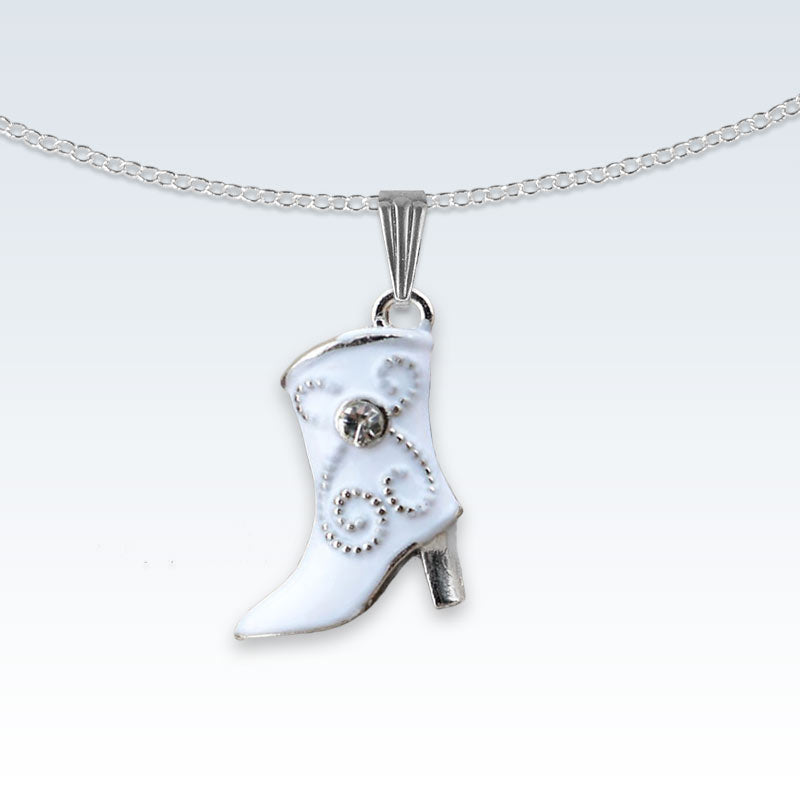 White Boot Enameled Metal Necklace