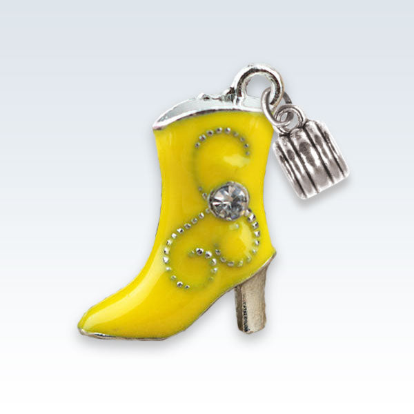 Enameled Boot Charm Yellow