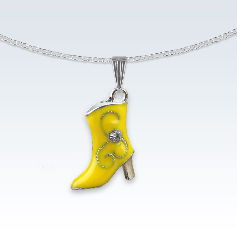 Yellow Boot Enameled Metal Necklace