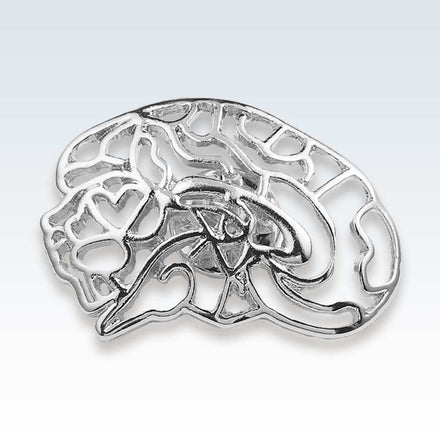 Anatomical Hollow Brain Silver Lapel Pin