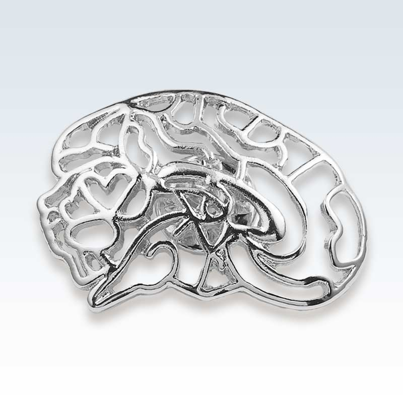 Hollow Brain Silver Lapel Pin