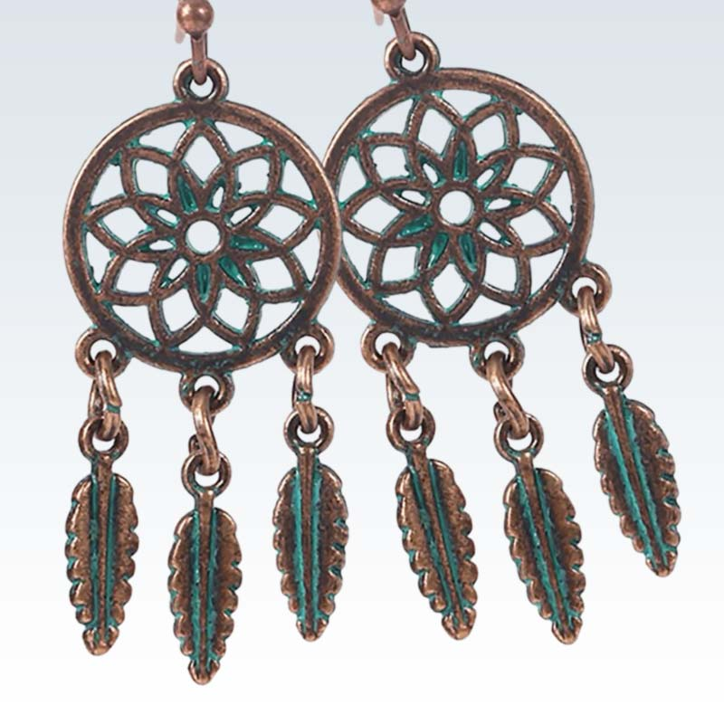 Bohemian Bronze Feathers Earrings Detail