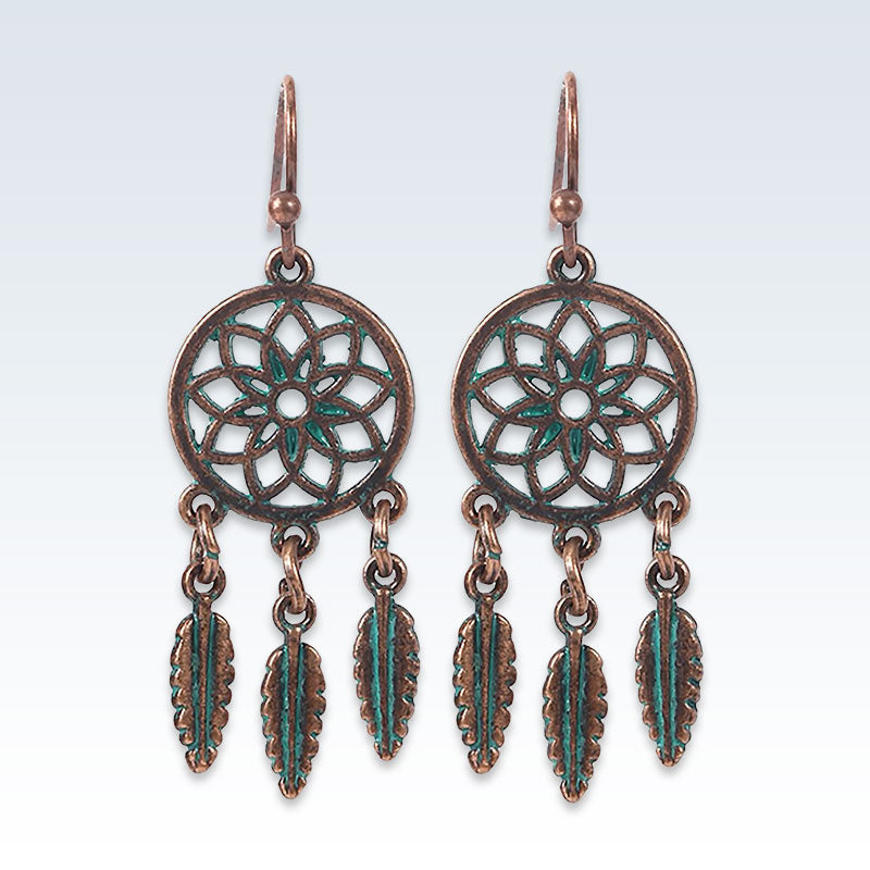 Bohemian Bronze Feathers Circle Earrings