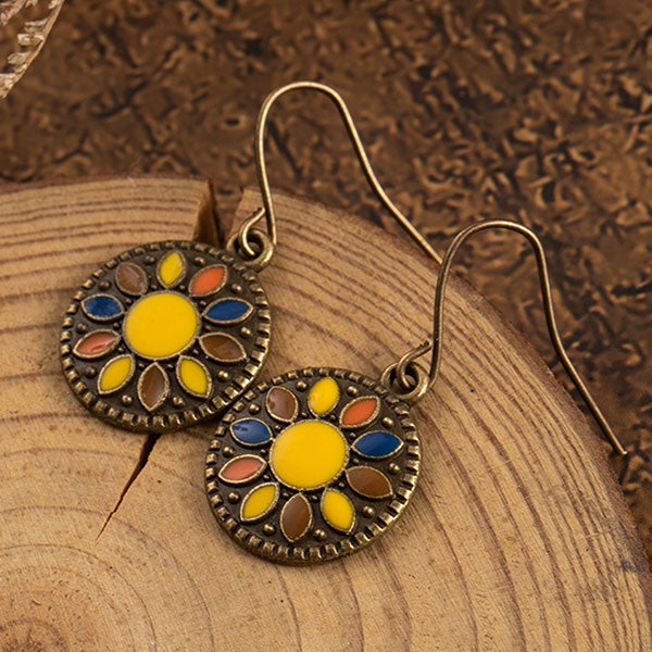 Bronze Round Enameled Drop Earrings
