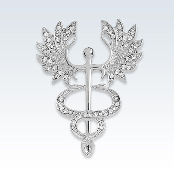 Big Wing Caduceus Silver and Crystal Lapel Pin