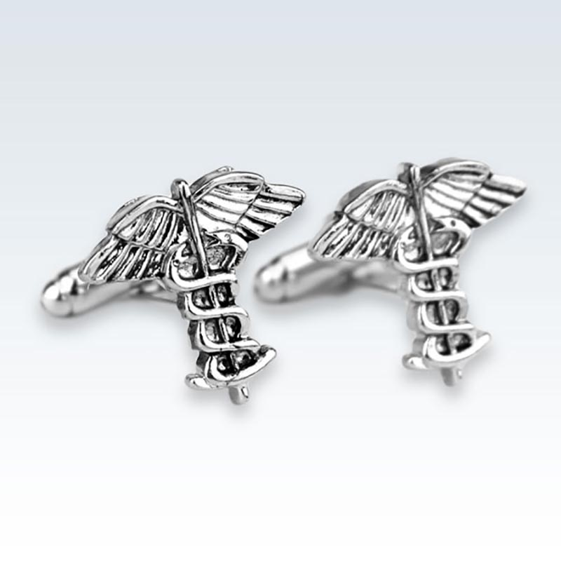 Silver Caduceus Metal Cufflinks