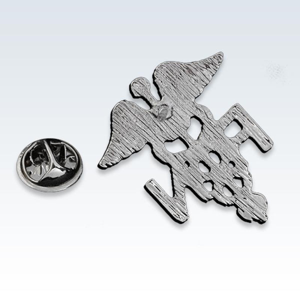 RN Caduceus Silver Lapel Pin Back