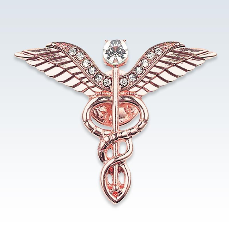 Rose Gold Winged Caduceus Lapel Pin