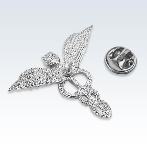 Silver Winged Caduceus Lapel Pin Back