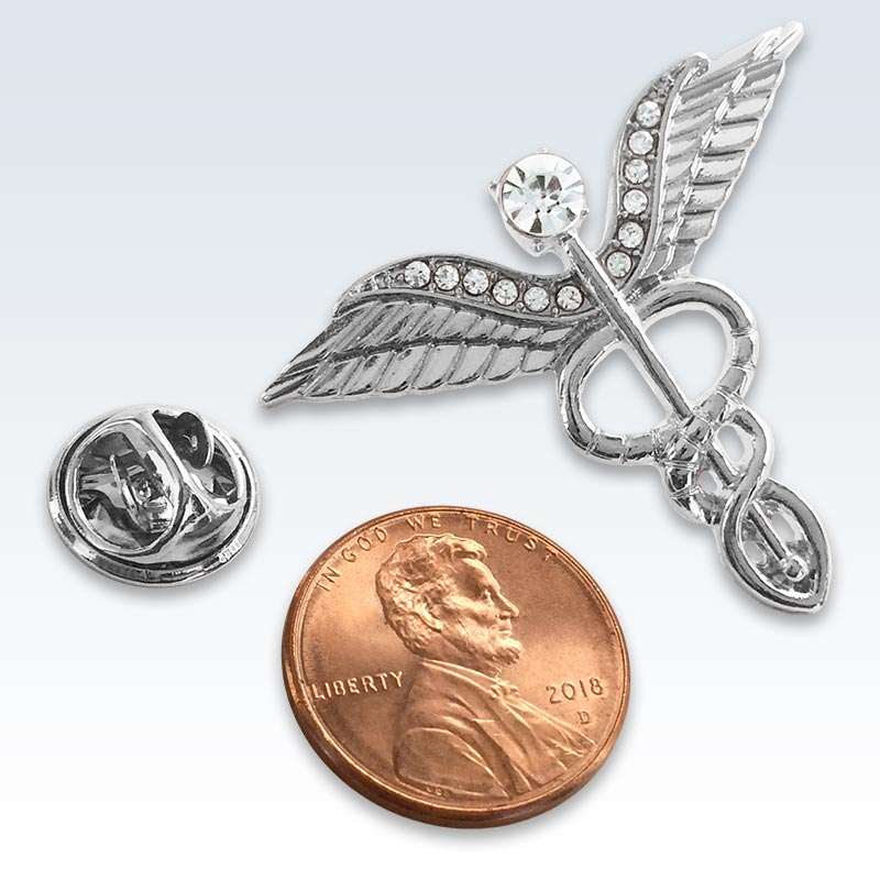 Silver Winged Caduceus Lapel Pin Size