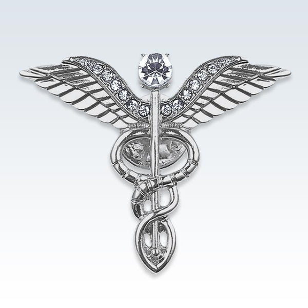 Silver Winged Caduceus Lapel Pin