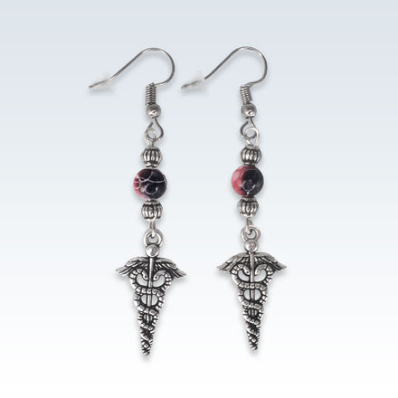 Caduceus Red Pearl Earrings