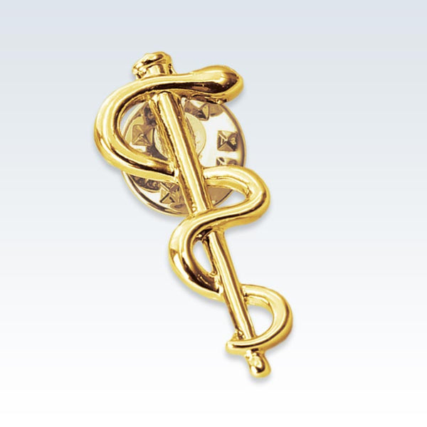Gold Caduceus Staff Lapel Pin