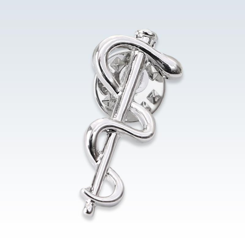 Silver Caduceus Staff Lapel Pin