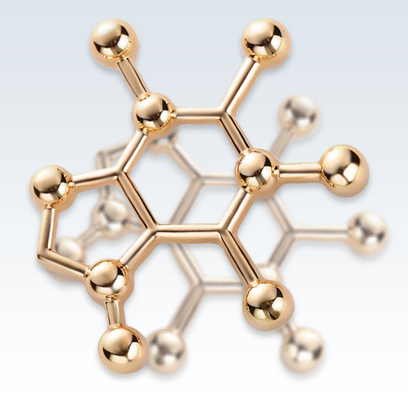 Caffeine Molecule Metal Lapel Pin Detail