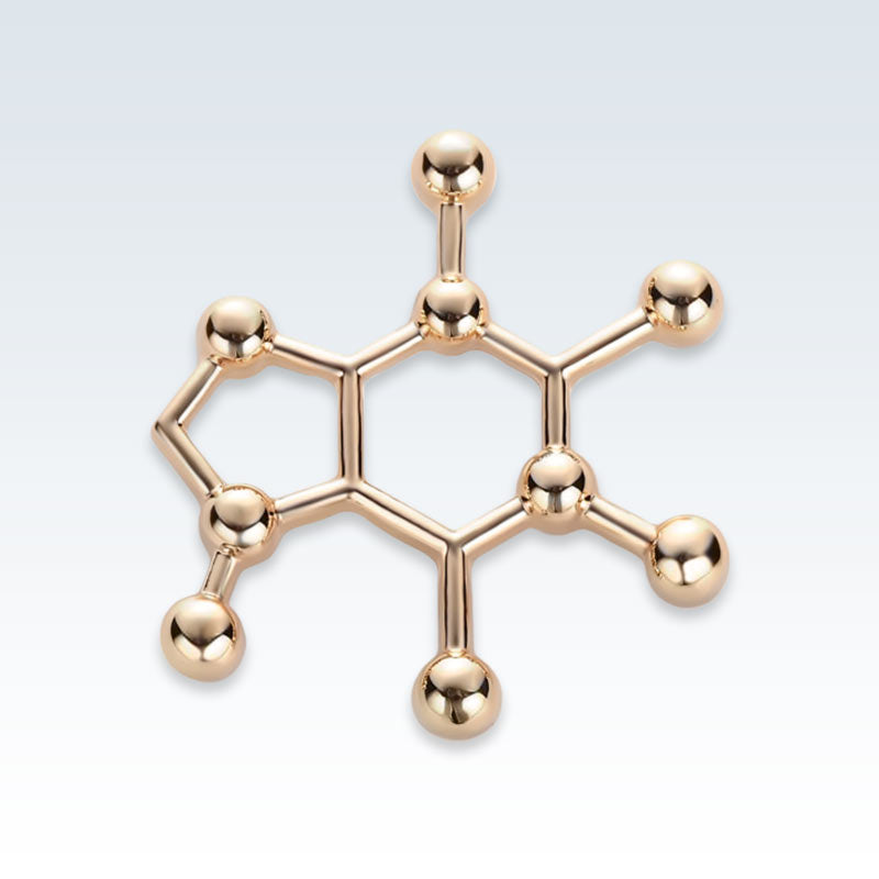 Gold Caffeine Molecule Metal Lapel Pin