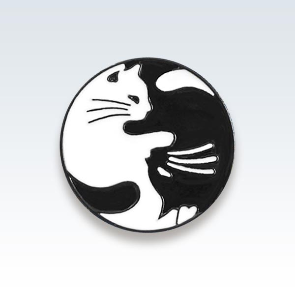 Cats B+W Enamel Lapel Pin