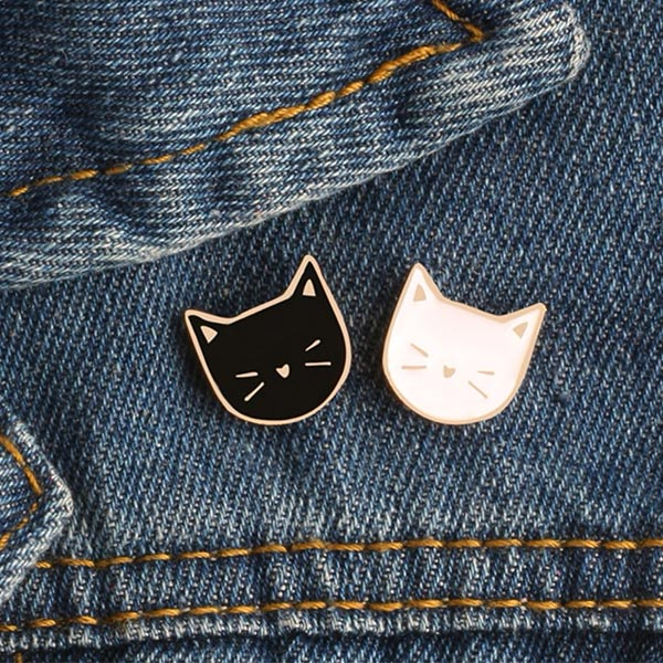 Kittens Pair Enamel Lapel Pins Denim