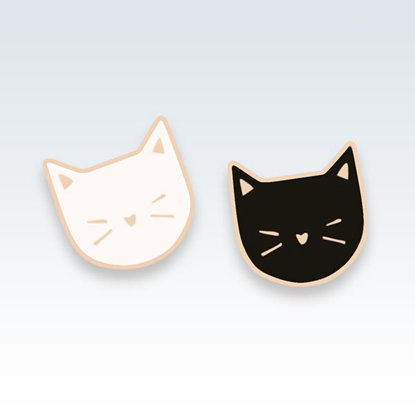 Kittens Pair Enamel Lapel Pins