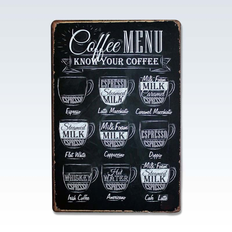 Coffee Menu Steel Chalk Sign
