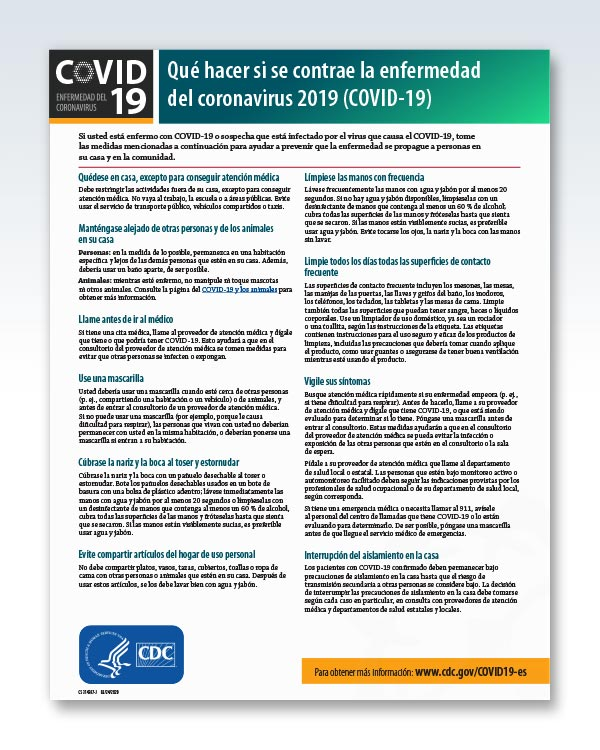Sick With COVID-19 Factsheet Spanish