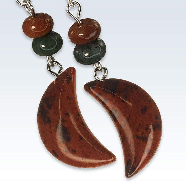Crescent Speckled Red Stone Earrings Detail