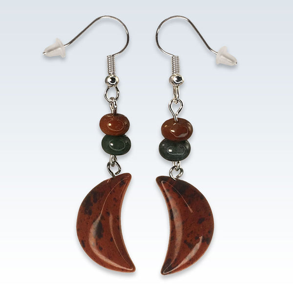 Crescent Speckled Red Stone Earrings