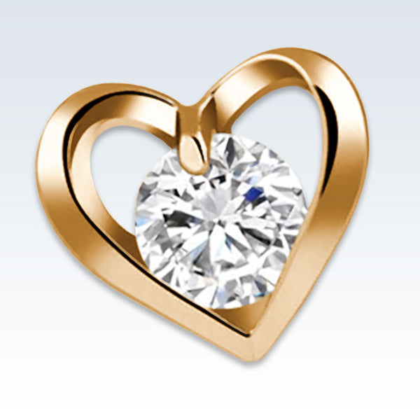 Heart CZ Gold Earring Detail
