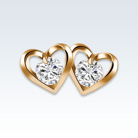 Heart CZ Gold Earring Studs