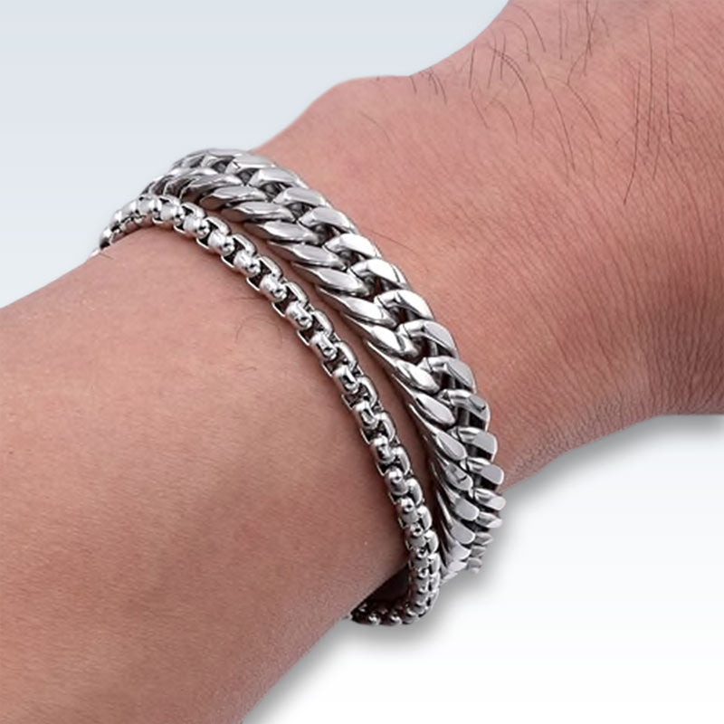 Wearing Stainless Steel Double Chain Bracelet