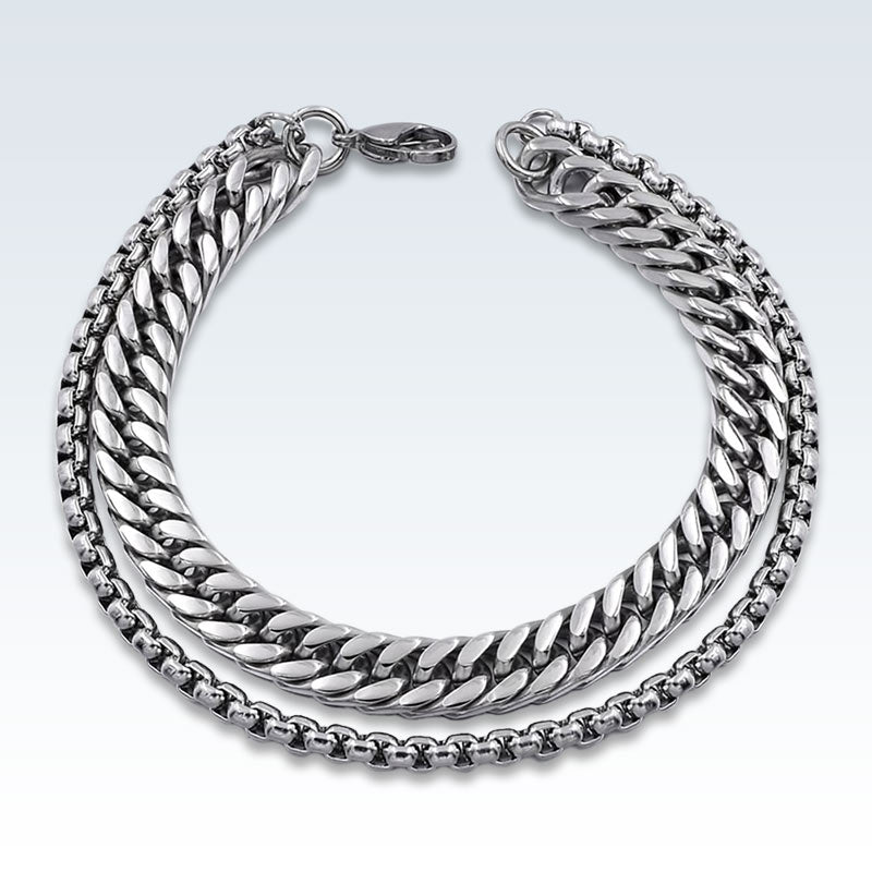 Stainless Steel Double Chain Bracelet Lobster Clasp
