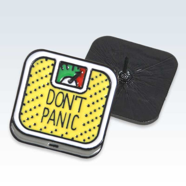 Yellow Don't Panic Scale Lapel Pin Detail