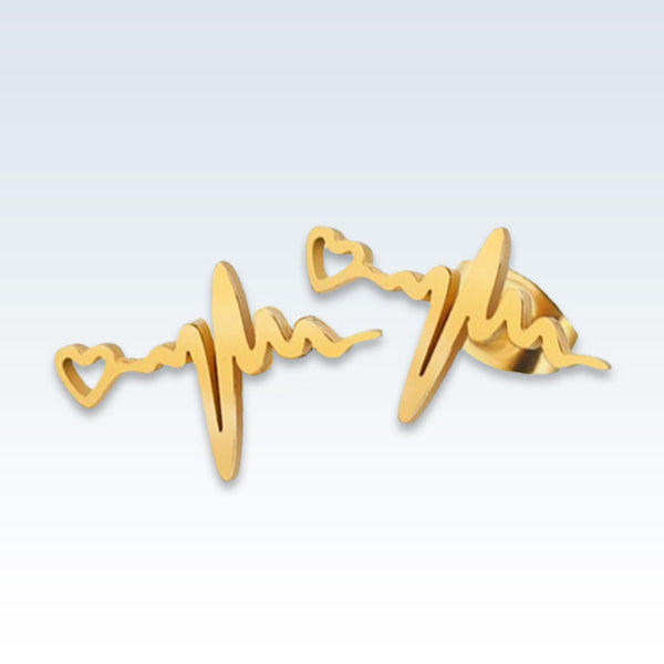 ECG Stainless Steel Gold Earring Studs