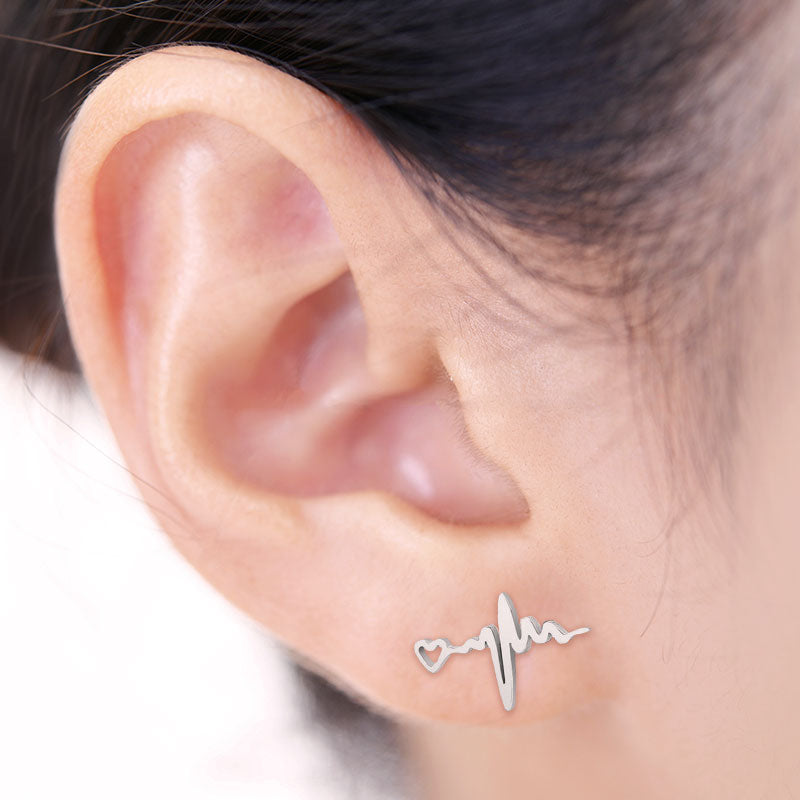 Wearing ECG Stainless Steel Earring Studs