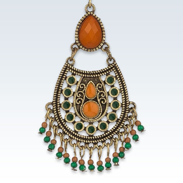 Ethnic Teardrop Bead Earring Detail