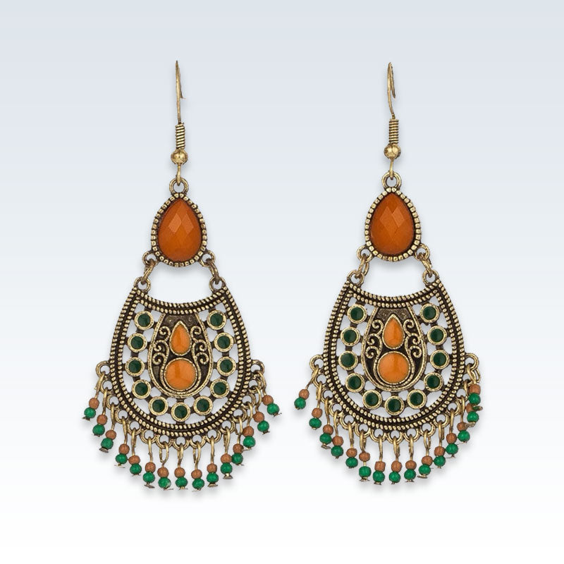 Ethnic Teardrop Bead Drop Earrings