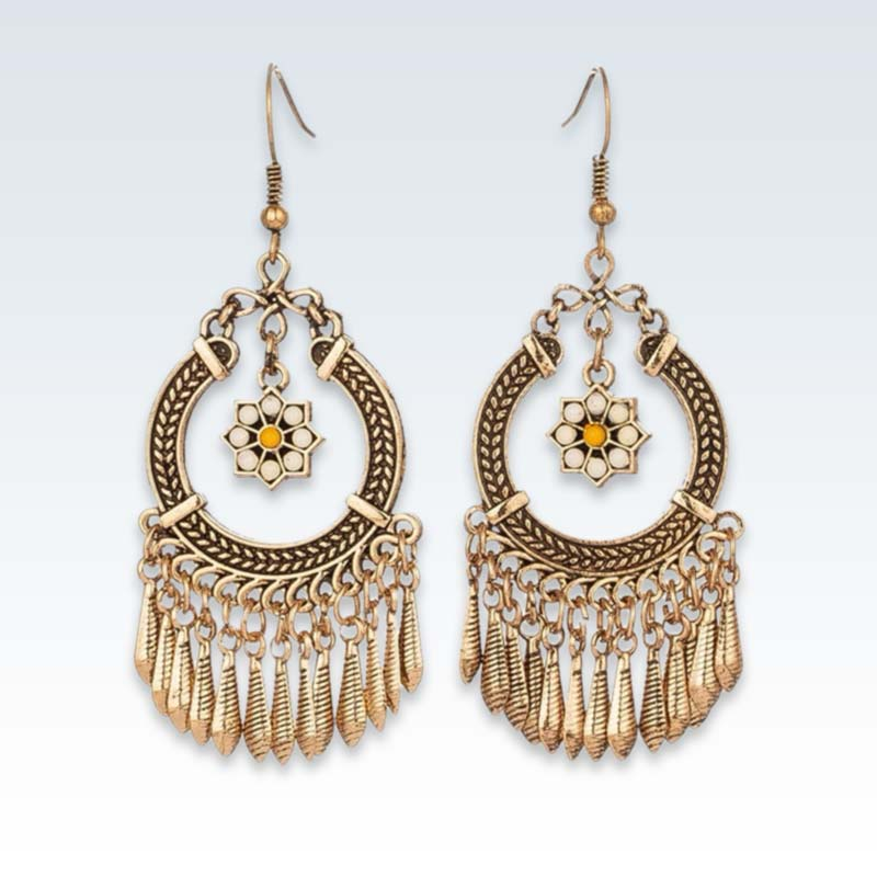 Ethnic Gold Tassel Earrings