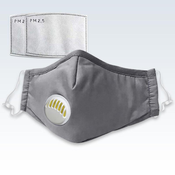 Gray Face Mask With PM 2.5 Filters
