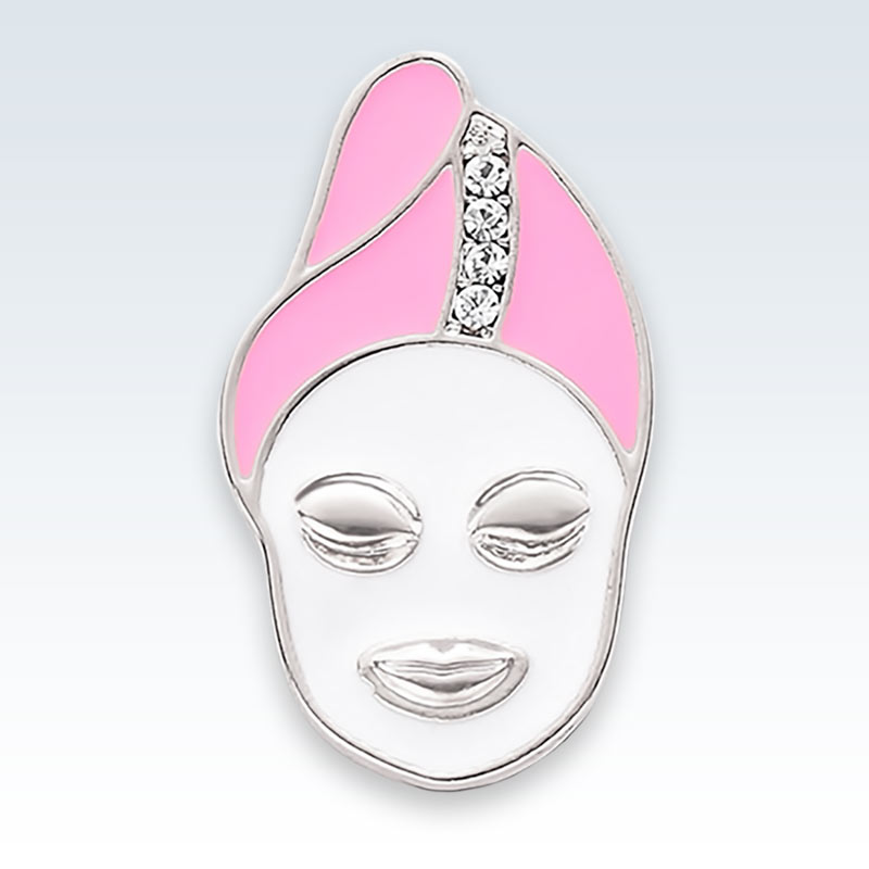 Facial Mask Spa Silver Lapel Pin