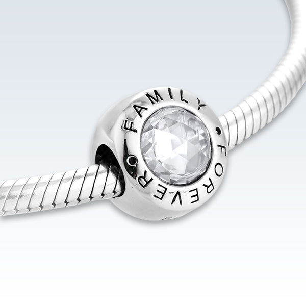 Sterling Silver Family Forever CZ Charm