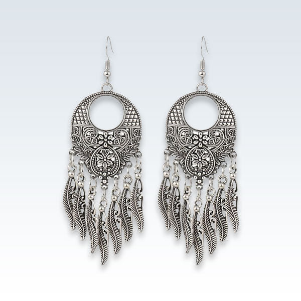 Tibetan Silver Feather Drop Earrings