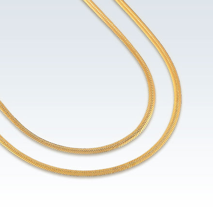 Stainless Steel Flat Snake 2mm Gold