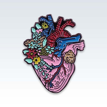 Floral Heart Enamel Lapel Pin