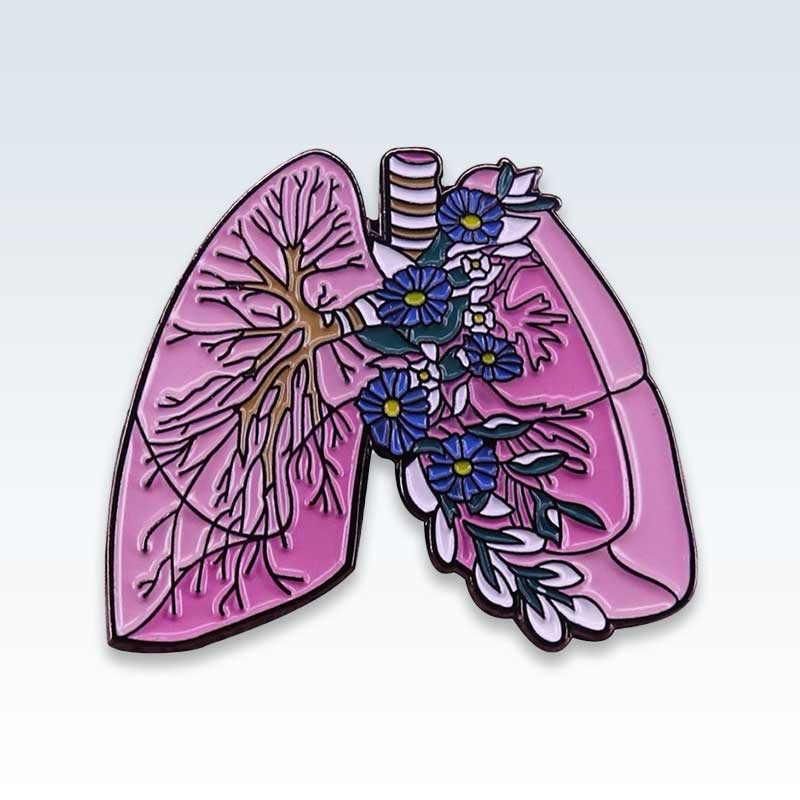 Floral Lungs Lapel Pin
