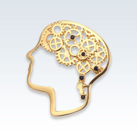 Gold Brain Gears Lapel Pin