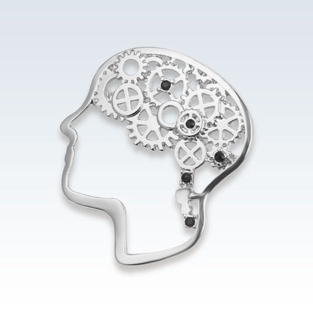 Silver Brain Gears Lapel Pin