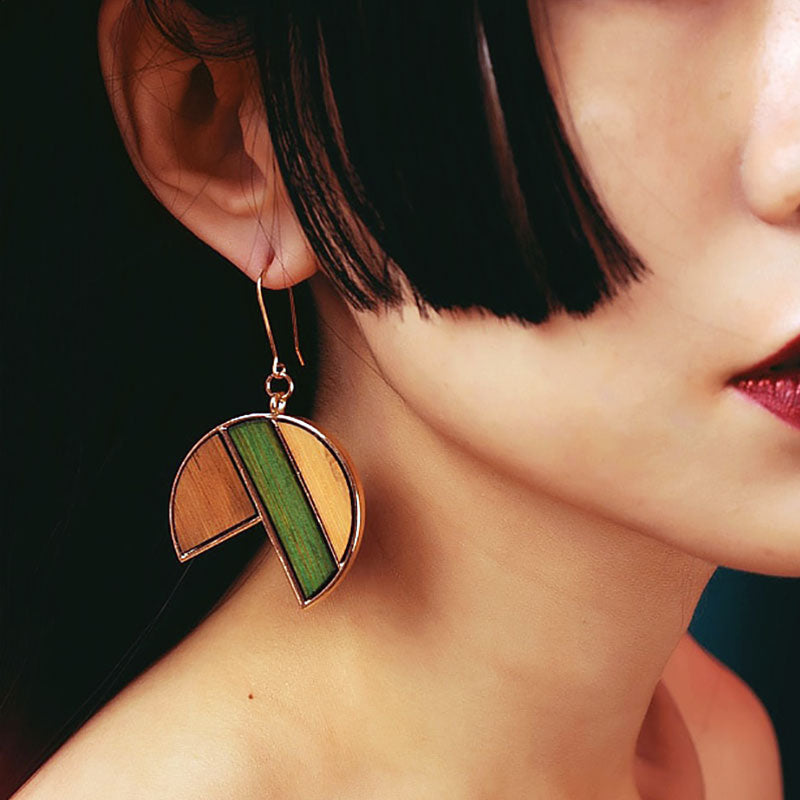 Wearing Wooden Circle Earring