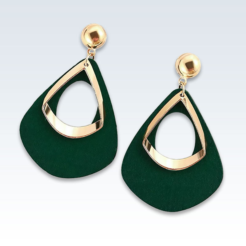 Geometric Wood Green Earrings